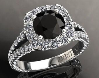 Black Moissanite Engagement Ring 7mm Round Black Moissanite Ring 1.70ct white Moissanites Halo Ring 18k Gold pristine Custom Rings