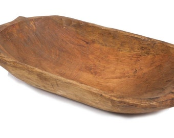Rustic Deep Wooden Dough Bowl with Handles-Trencher-Batea-Wooden Doughboard-Doughbowl-8-11W x 16-19L