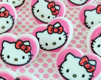 Hello Kitty Heart Cupcake Rings (12), Hello Kitty Cake Toppers