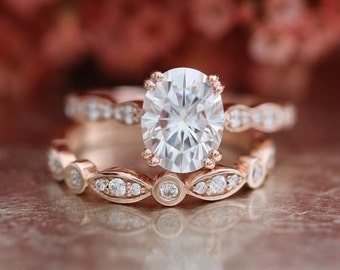 Forever One Moissanite Solitaire Engagement Ring Bridal Set in 14k Rose Gold Bezel Scalloped Diamond Wedding Band 9x7mm Oval Gemstone Ring