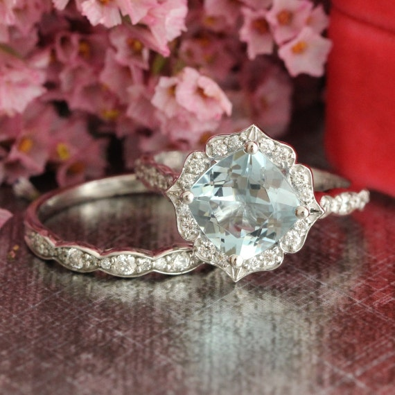 14k White Gold Vintage Floral Aquamarine Engagement Ring and Scalloped Diamond Wedding Band Bridal Set 8x8mm Cushion Cut Gemstone Ring Set