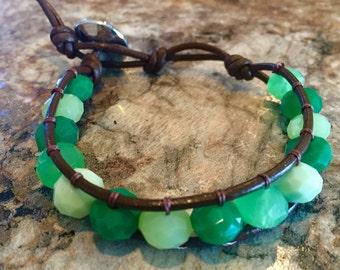 Shades og Green Leather Wrap Bracelet