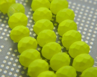 Spray Painted Neon Glass Beads - Abacus Neon Yellow Faceted Rondelle Beads - Neon Glass Beads  - 25 Beads