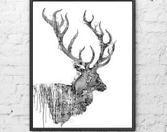 Deer Black white art print Watercolor painting deer, BW Wall Decor, Animal Art, Deer Illustration - B26