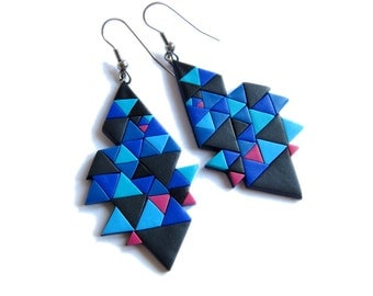 Geometric Earrings, Navy Blue Earrings, Ultramarine Blue Earrings, Royal Blue Earrings, Polymer Clay Jewelry, Big Color Block Earrings, Fimo