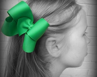Green Hair Bow, Green Boutique Hair Bow, Green Hairbow, Green  Hair Clip, Boutique Hair Bow, Hairbows, School Hair Bow, Hair Bows for Babies