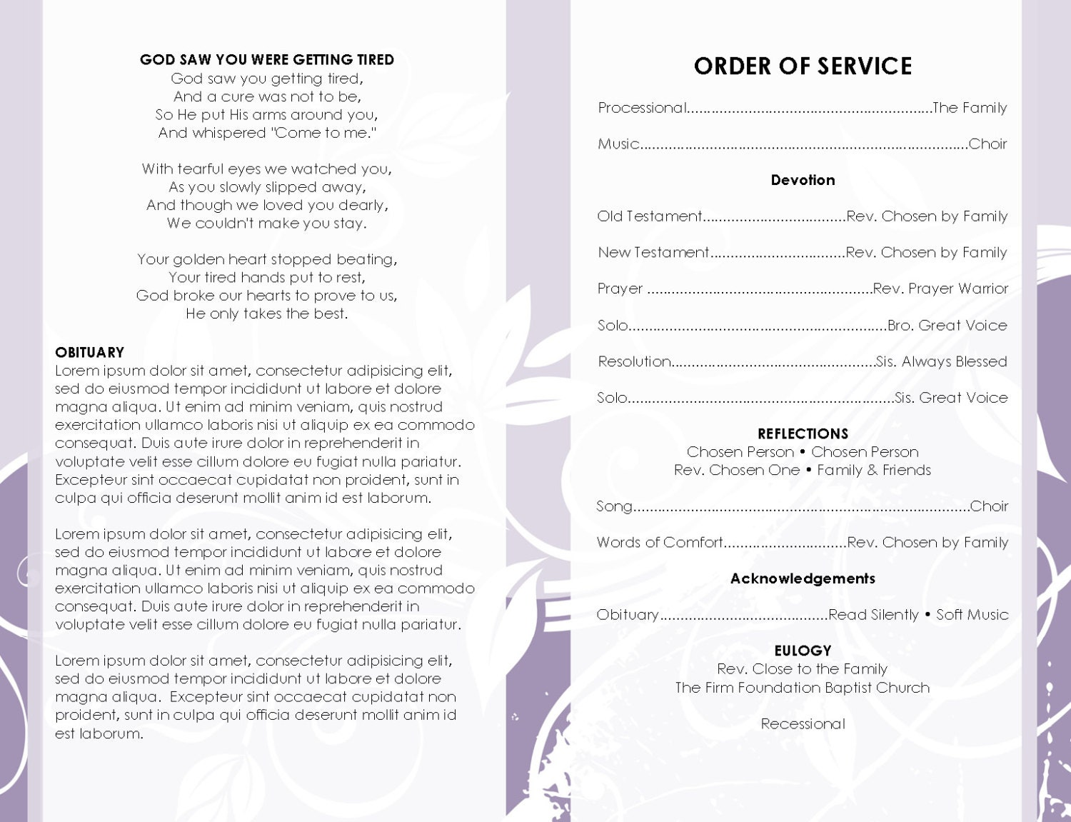 8 page booklet shades of purple printable funeral program template photo center spread page microsoft word document