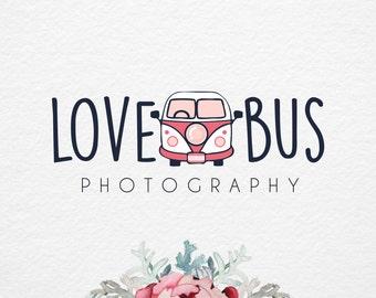 Hippie bus Logo, Premade  Logo Design, Camera Logo, photography logo