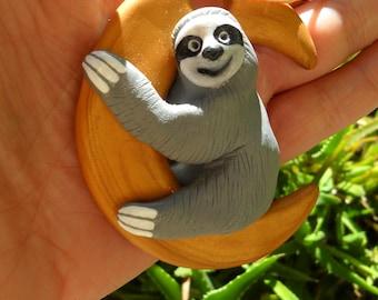 Moon Sloth Ornament - Christmas Tree Ornaments - Sloth Miniature Figurines - Polymer Clay Sloths
