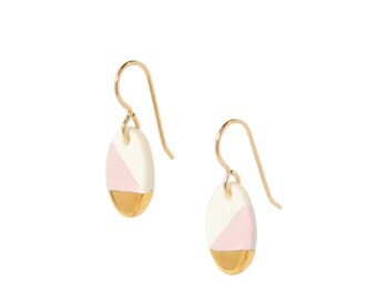 free shipping, dangle earrings, oval pink and gold dipped earrings, blush pink porcelain earrings, free shipping