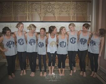 Set of 8 Bridesmaid Shirts, Bachelorette Party Shirts, Bridal Party Monogrammed Tank Tops (mg001)