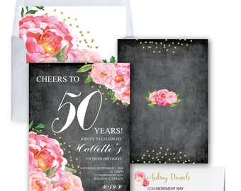 50th Birthday Invitation // Fiftieth Birthday Invitation // Chalkboard // Flowers // Peony // Pink // Gold Glitter // BORDEAUX COLLECTION