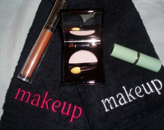 Black Makeup Removal Towel: White or Hot Pink Monogram.