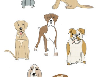 Who let the dogs out illustrated limited edition print