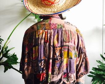 Terranova Patchwork Button Front Hawaiian Shirt In Antique Rose