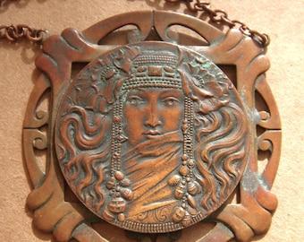 Antique Art Nouveau Copper Figural  Pendant with Chain