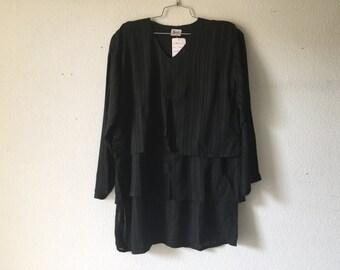 Vintage Blouse - Loose Layered Top Sheer Purple Black