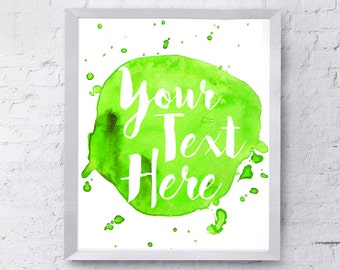 Custom Typography Green Watercolour Printable Download Wall Decor