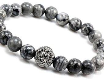 Lion Bracelet, Bracelets Men, Jasper Stone Bracelet, Gemstone Bracelet, Silver Lion Head Bracelet, Mens Lion Jewelry, Jasper Beaded Bracelet
