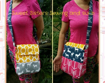 Messenger bag made by your choice of fabrics