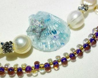 Mermaid ocean seashell, natural freshwater pearls, swarovski bracelet