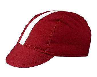 Red/white-stripe cotton cycling cap - handmade cap; bike cap; bicycle cap; cotton cap; cycling clothes; bike wear