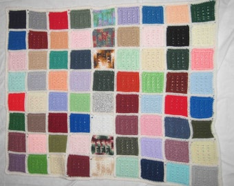 "Afghan Crochet Lap Blanket 28"" x 35"" Made In Multi Color Squares,Handmade, Lap Blanket Crocheted"