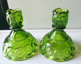 """L.E Smith Antique Green Glass Moon And Stars Candlestick Holders 4-3/4"""" Tall Free Shipping"""