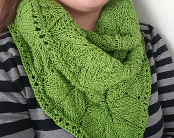 Glorious Green Knitted Triangle Shawl Scarf, cotton yarn, vegan friendly, ready to ship, free shipping in US