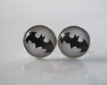 Batman logo design cufflinks, vintage comics bridal party cuff links, retro glass dome handmade mens jewelry, groomsmen team gift idea