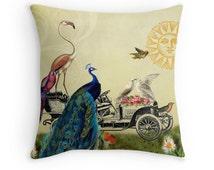 Whimsical Pillows, Whimsical Decor, Bird Decor, Vintage Cushion, Peacock, Flamingo, Parrot, Love Birds, Antique Car, Sun Decor, Bird Decor