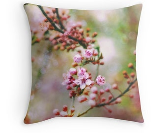 Spring Pillows, Spring Decor, Spring Flowers, Apple Blossoms, Pink and Green Decor, Pink and Green Cushion, Pink and Green Pillow