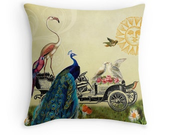 Whimsical Pillows, Whimsical Decor, Bird Decor, Vintage Cushion, Peacock, Flamingo, Parrot, Love Birds, Antique Car, Sun Decor, Bird Decor