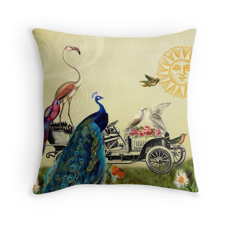 Whimsical pillows whimsical decor bird decor vintage for Whimsical decor