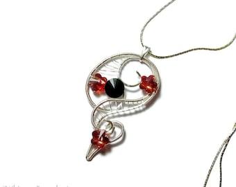 Whispers pendant, elven pendant, gothic pendant, Gothic jewelry, Swarovski pendant, wire pendant, Cosplay, fantasy jewelry, elvish jewelry