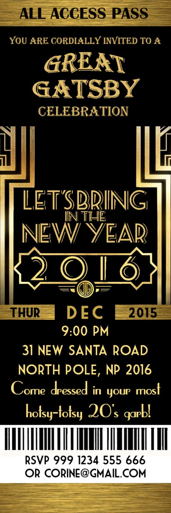 Great Gatsby New Year Invitation – Merry Christmas And Happy New ...