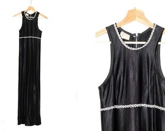 70s long dress / vintage black dress / 1970s vintage / Black and silver