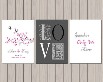 1st First Anniversary - Wedding Gift - Gift for Couples - Personalize With Your Own Names and Dates in Any Color Set of Three Prints