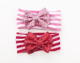 The Annie Sequin Bow with Striped Wrap Headband