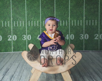 Photography Backdrop - Football Field With Yard Marker Numbers - Grass football field with hash marks yard markers & numbers