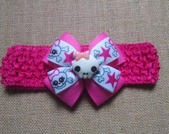 Baby Girl Headband, Skull Headband, Pink Headband, Baby Hair Accessory, Baby Headband, Skull and Bone Bow, Girls Hairbow, Pink Skull Hairbow