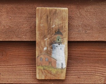 Barnboard Painting, Vintage Lighthouse Art, Lighthouse Painting on BarnBoard, Coastal Art, Beach House Decor