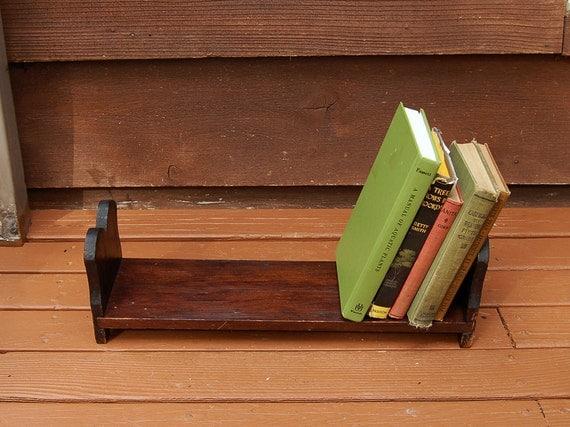 Wooden Book Holder Vintage Wood Book Rack Long Desk Top Book