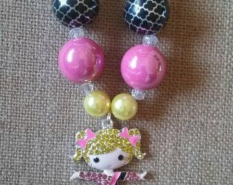 Blonde Gymnast Adorable Bubble Gum Bead Necklace