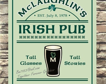 Custom Irish Pub Bar Sign