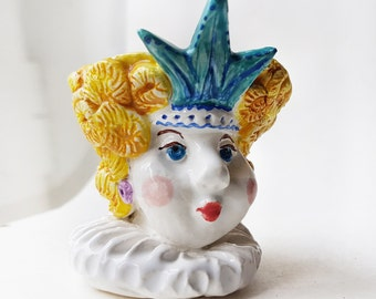 Queen hand sculpted ceramic Egg Cup, Pottery hand painted Egg Holder, kids egg cup, unique ceramic queen figurine Candle Holder