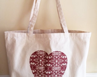 Red Geometric Heart Canvas Tote Bag