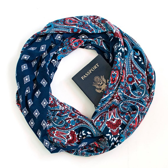 St ives scarf w hidden pocket travel by speakeasysupplyco for Travel gear hidden pocket