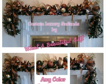 Christmas Mantel Garland Swag, SHIPPING INCLUDED,Elegant Luxury Designer Lighted Garland, Hutch, Entertainment Center Holiday Floral  Decor