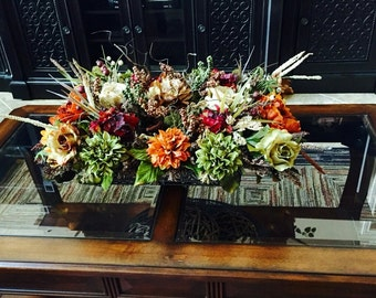 Floral Arrangement,SHIPPING INCLUDED Elegant Tuscan Table Centerpiece,  Dining , Mantel, Living Room